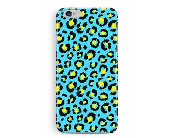 Leopard Print iPhone 6 Case, Pretty Phone Case, iPhone 6 Case, Blue Phone Case, Bling iPhone 6 case, Girly iPhone case, skater iphone case