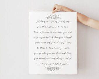 Wedding Vow Print - First Anniversary Gift - Paper Anniversary Gift - Vow Keepsake - Wedding Gift - Wedding Vows - Frame Not Included
