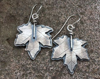 Maple Leaf Earrings - Sterling Silver Leaf Earrings - Fall Jewelry for women - Real Leaf Earrings - Dangle Earrings