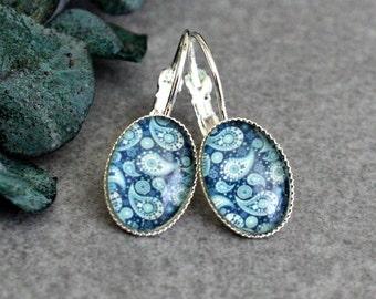 Blue Drop Earrings, Blue Earrings, Blue Paisley Earring, Blue Drop Earring, Blue Dangle Earring, Blue Lever Back Earring, Blue Glass Earring