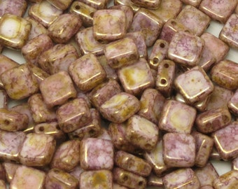 2-HOLE CZECH GLASS Tiles-Alabaster Lila Gold Luster-6 x 6mm-Two Hole Bead-Czech Pressed Glass Beads - Two Hole Square Beads - 25 Beads