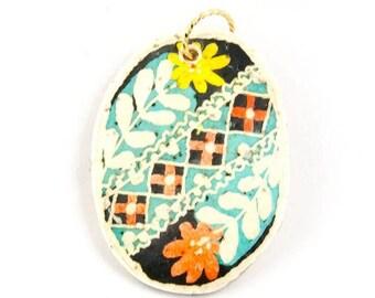 Pysanky Flowers Vintage Style Ostrich Eggshell Pendant