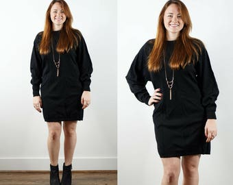 80s Black Sweater Dress / Black Wool Knit Dress / Long Sleeve Dress / Dolman Sleeve Dress / Black Tunic / Tunic Sweater / Winter Dress
