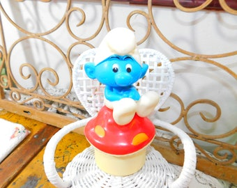 Smurf sitting on Mushroom Jewelry  Box Rare, Talbot Toys, Music Box and Mirror smurf, Vintage Smurf on Mushroom Box, Vintage Smurf :)s*