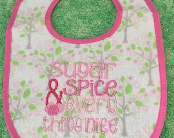Baby Girl Machine Embroidered Bib - Sugar and Spice