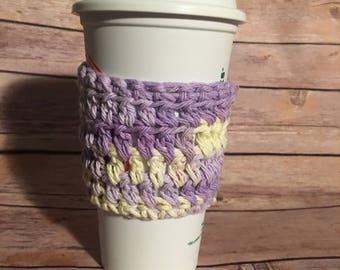 Purple and Yellow Colored Crochet Coffee Cozy, Drink Sleeve, coffee cup cozy, crochet cup cozy, cup sleeve, crochet cozy, Starbucks Dunkin