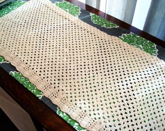 Vintage Crocheted Two-Tone Valance (1) Panel - Great Vintage Condition!!