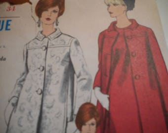 Vintage 1960's Vogue 6885 Mod Dress and Coat Sewing Pattern Size 12 Bust 32