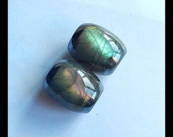 New,Labradorite,Hematite Intarsia Gemstone Earring Bead,23x20mm,25.3g (E9519)