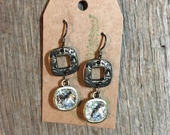 Antique Brass - scroll work and Swarovski earrings
