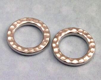 TierraCast Hammertone Medium Round Link, Rhodium 2-Pc. TR4