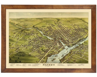 Bangor, ME 1875 Bird's Eye View; 24x36 Print from a Vintage Lithograph