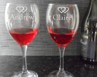 Personalised Engraved Wine Glasses Wedding Anniversary Birthday Gift