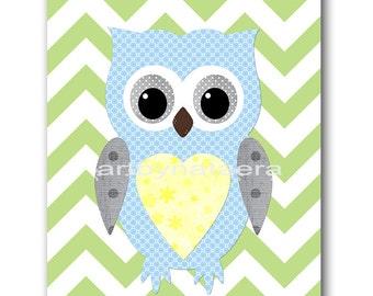 Owl Decor Owl Nursery Baby Boy Nursery Art Kids Wall Art Nursery Wall Art Baby Nursery Kids Room Decor Kids Art Boy Print Blue Green