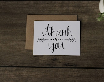 Thank You Cards with Envelopes / Wedding / Shower / Engagement, Rustic Wedding Stationery