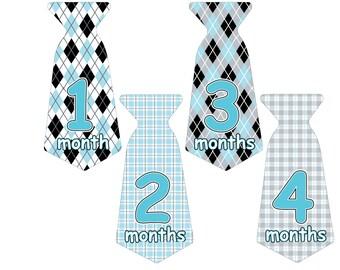 12 Pre-cut Monthly Baby Milestone Waterproof Glossy Stickers - Neck Tie Shape - Design T006-04
