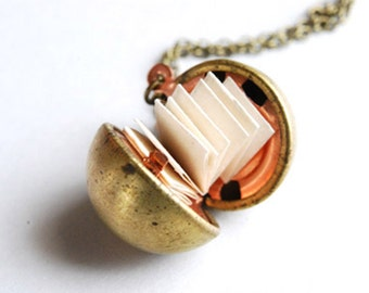 Secret Message Necklace, Golden Ball Locket, Antique Brass Locket, Personalized Necklace
