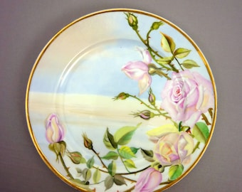 Vintage Handpainted Plate with Pink Roses- Porcelain Plate-China Plate with Pastel Roses -Display Floral Plate-Flower Plate