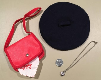 American Girl Molly McIntire's Meet Accessories - Complete! Beret, Locket, Shoulder Bag, Hankie, & Steel Penny, Tagged Pleasant Company