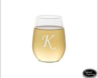 Any Quantity Personalized Wine Glass, SHIPS FAST, Personalized Monogram Wine Glass, Custom Engraved Wine Glass, Etched Initial Wine Glasses