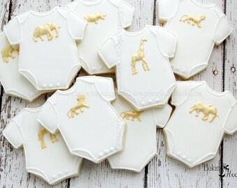 Gold Animal Onesie Baby Shower Cookies, Golden Safari Baby Shower, Gold Safari Animal Onesie cookies, Baby Shower Favors, Gold Animal Favor