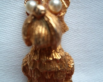 Vintage Signed JJ Goldtone Scottie Dog with Pearl Eyes Brooch/Pin