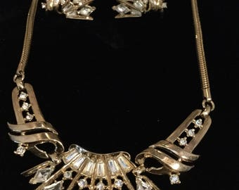 "CROWN TRIFARI Necklace and Earrings  with ""Diamonds"""