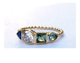 Cluster Gemstone Wedding Ring, Dark Blue Sapphire, Moissanite, Sage Green Sapphire, Aquamarine ~ Cluster Engagement Ring