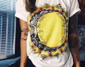 Love By The Moon Live By The Sun Woman's T-Shirt Boho Hippie Girl