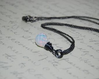 White Milk Quartzite Stone Artistic  Wire Wrap Necklace .