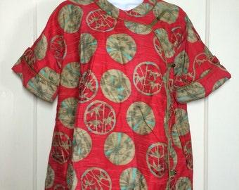 1950's maternity Asian Artist Smock Tunic Top China Blouse looks size Medium polished cotton breastfeeding blouse red ethnic polka dot