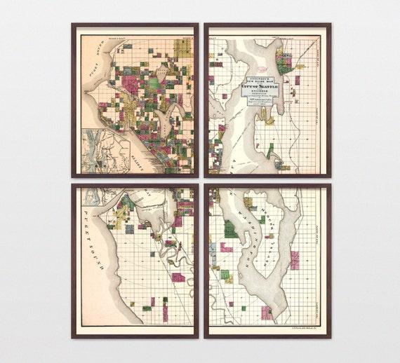 Seattle Map - Antique Map - Archival Reproduction - Seattle Washington - Seattle Art - Seattle Wall Art - Vintage Seattle - City Map Art