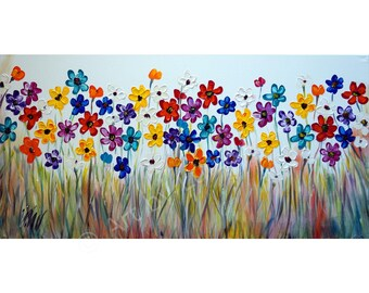 "Original Flowers 72"" Painting Oil on Large Canvas Colorful Daisy  Art by Luiza Vizoli"