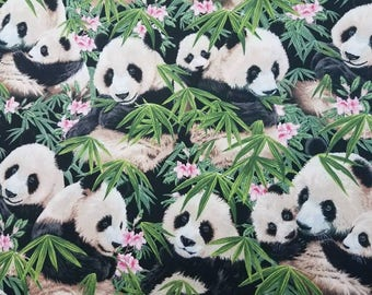 Panda with babies and bamboo- Fabric High Quality Cotton- By The YARD