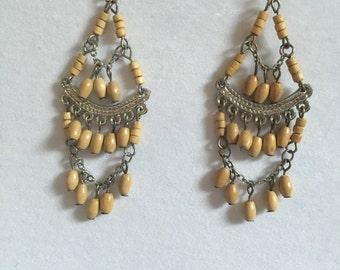 Wooden Chandelier Earrings
