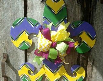 Mardi Gras Fleur de lis door hanger, Fleur de lis door hanger