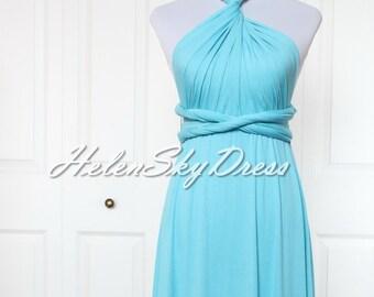 Light blue convertible wrap dress, short bridesmaids infinity dress knee length