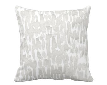 """Raindrops Abstract Print Throw Pillow, Taupe/White 16, 18, 20 or 26"""" Sq OUTDOOR or INDOOR Pillows/Covers, Gray Abstract/Modern/Dots/Dashes"""