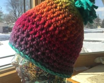 Rainbow Wool Gradient Crochet Hat Beanie Pom Pom Warm Bulky Ski Winter Gift
