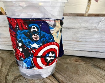 Superhero Captain America Wolverine  GRANDE Coffee Cozy Reversible Cup Cozy To Go Sleeve Teacher Gift Frappuccino Fathers Day