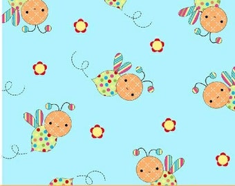 Melanie Hurlston for Windham, Little Menagerie, Bumble Bees in Blue  (32080-6) -1 Yard Clearance