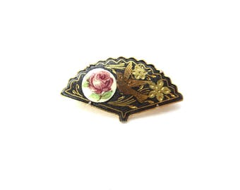 Gorgeous Vintage Unmarked Spain / Spanish Damascene Gold Tone Metal Black & Tri Colored Bird and Red Rose Fan Brooch