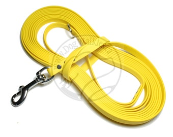 "Sunflower Yellow -   Waterproof Long Line - 1/2"" (12mm)wide Genuine Biothane - Tacking Line - Recall - Choice of hardware and length"