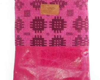 SAMPLE SALE 'No Waste' leather & Welsh wool messenger  - Teifi Fuchsia