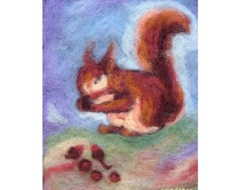 Squirrl of the forest, LARGE PRINT, childen's art, nursery art, wall decoration, Waldorf education arts, fiber arts