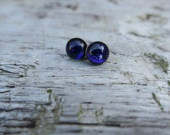 Blue/ Purple dichroic glass earrings