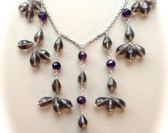 """Sterling Silver and Smokey Quartz/Amethyst Necklace-18"""""""
