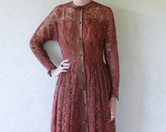 "Beautiful lace vintage dress, small -  rust brown . . . . . ""Like"" our fb page for 10% discount"