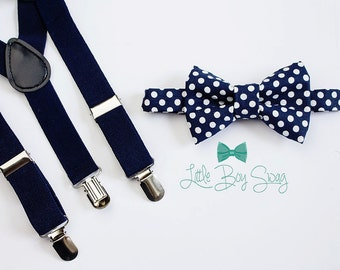 Navy Suspenders Bow Tie for Boys and Adults, Ring Bearer Outfit, Wedding Bow Tie, Baby Boy Bow Tie, Navy Bow Tie, Boy Suspenders, Wedding