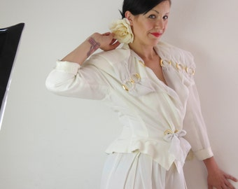 Pantsuit with Pep , 80ties , Wedding , white - gold , Gr.38